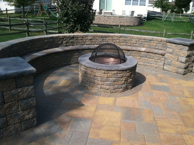 EP Henry Bristol Stone Paver Patio with Fire pit rustic-patio - EP Henry Bristol Stone Paver Patio With Fire Pit - Rustic - Patio