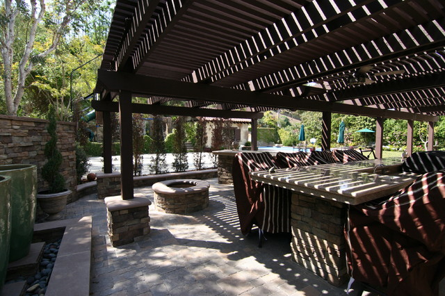 EXTERIOR BBQ, FOUNTAIN AND PATIO mediterranean-patio