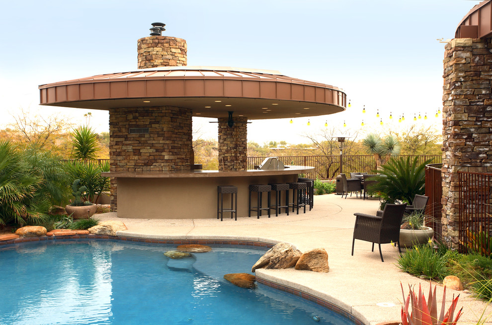 Trendy patio kitchen photo in Phoenix with a gazebo