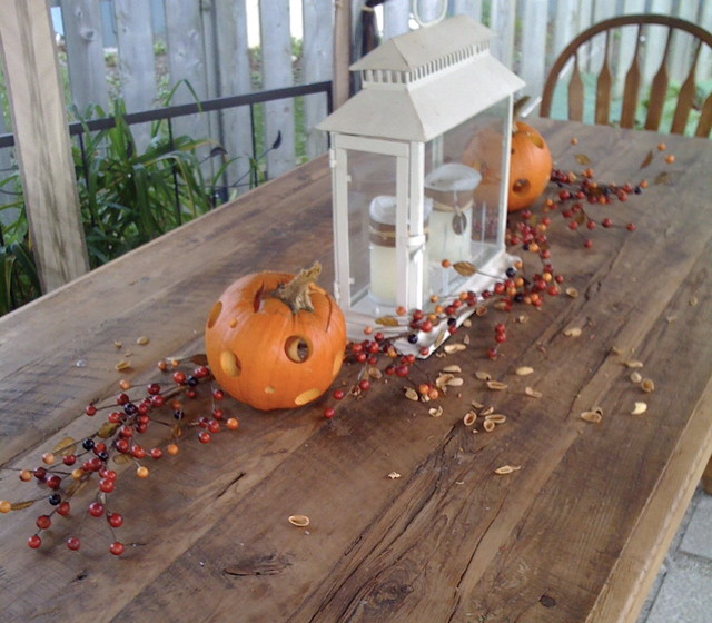 exterior fall table rustic-patio