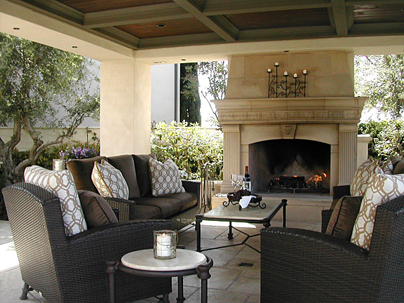 Exterior Fireplace And Covered Pavilion Mediterranean Patio