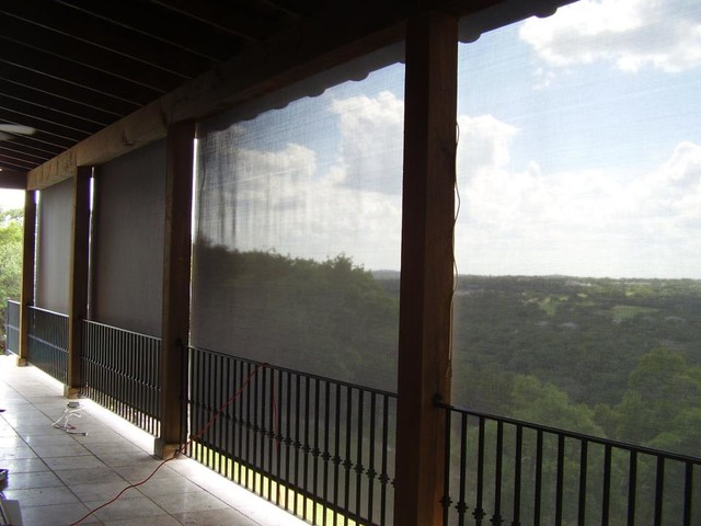 Exterior Roller Shades Rustic Patio Other Metro By DECO Window Fashions