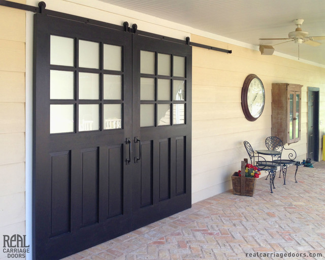 Exterior sliding barn doors traditional patio other for Sliding door front door