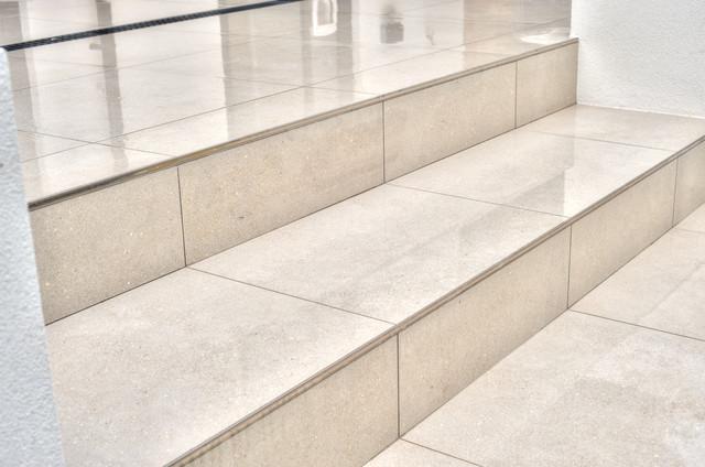Charming Exterior Tiles U0026 Steps   Conproj Grey U0026 Stainless Steel Tile Trim  Contemporary Patio Photo Gallery