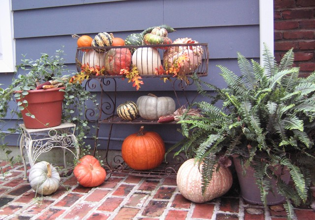 Fall & Halloween Deorating eclectic patio