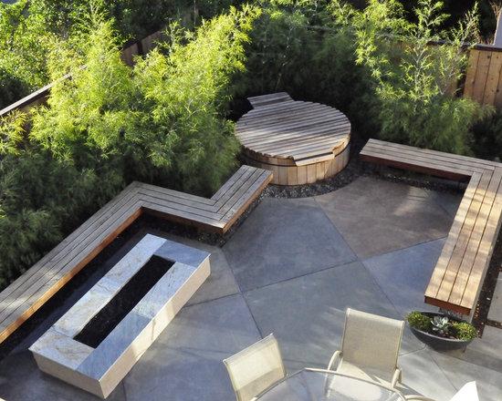 Concrete slab and brick wall patio lerve pinterest for Fire pit on concrete slab