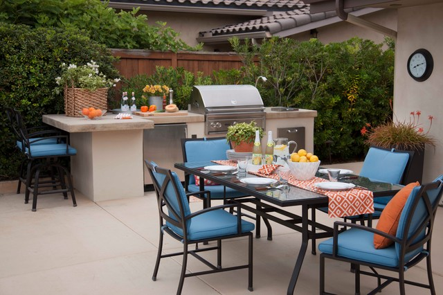Example Of A Trendy Patio Kitchen Design In San Go