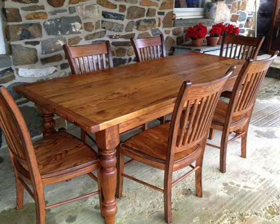 """Farm Tables - Farm House table made of reclaimed chestnut wood, dimensions 84"""" x 40 x 1.5"""" thick, liberty chairs made of solid oak sold separately price $370"""
