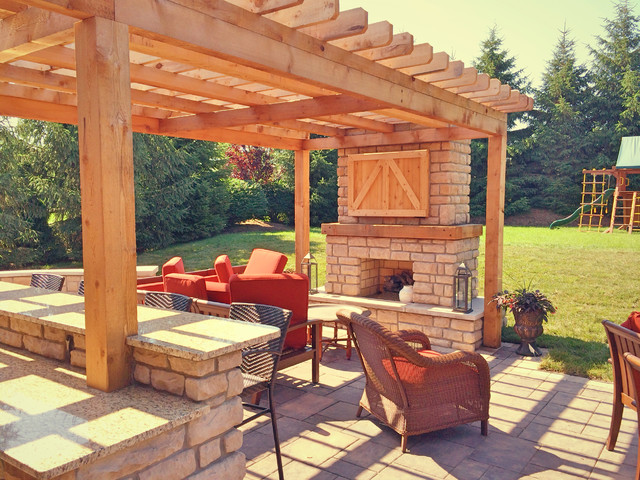 Farmhouse style outdoor living space farmhouse patio - Outdoor living spaces with fireplace ...