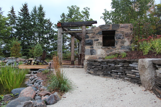 Gentil Faux Ruin Shelter And Dry Stone Retaining Wall Rustic Patio