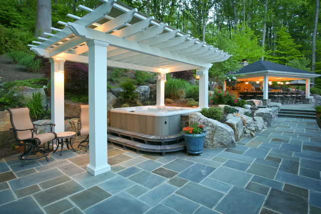 Great Example Of A Large Classic Backyard Stone Patio Kitchen Design In DC Metro  With A Gazebo