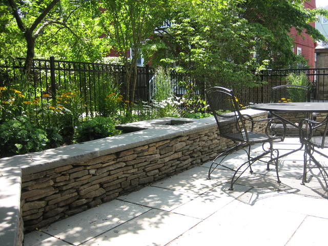 Fieldstone Walls Landscaping : Fieldstone seat wall contemporary patio boston by