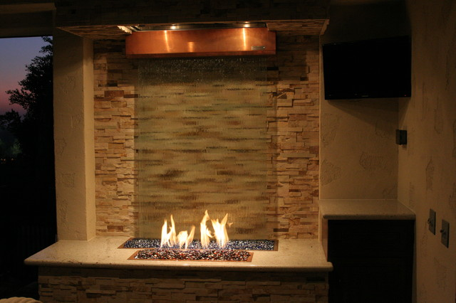 Fire and water feature eclectic patio los angeles for Fire and water features