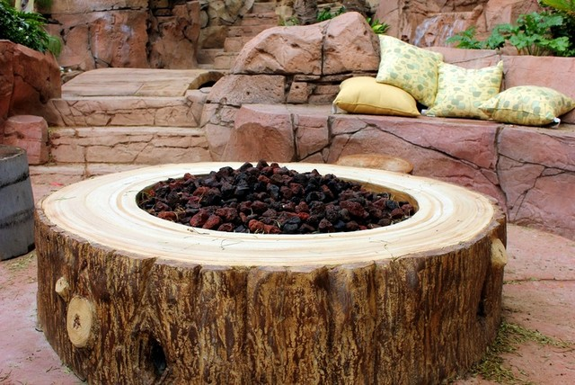 Fire element with seating eclectic-patio