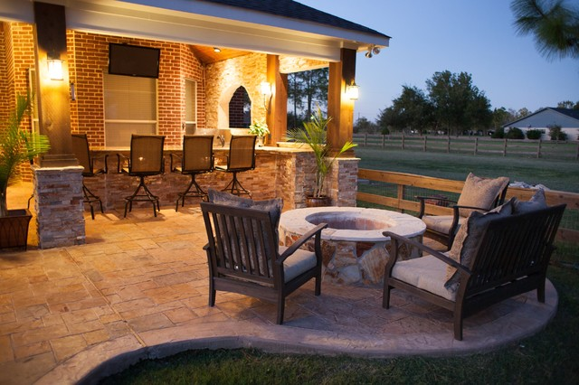 Fire features by texas custom patios traditional patio for Custom backyard designs