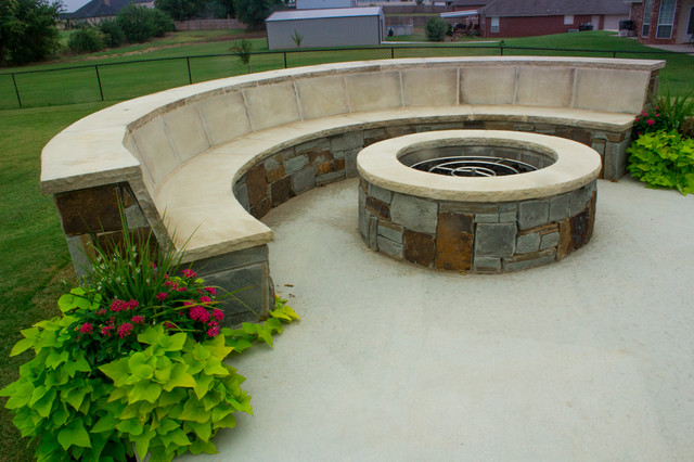 Fire Pit Amp Half Circle Seat Wall Rustic Patio