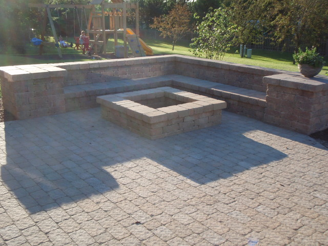Fire pit and paver patio traditional-patio