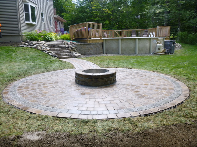 Fire pit and paver walkway - Traditional - Patio - New ... on Pavers Patio With Fire Pit id=47221