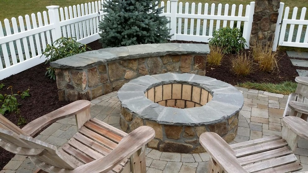 Fire Pit And Sitting Wall Craftsman Patio New York By Drs Lawn Landscape