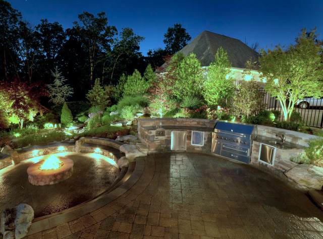Fire Pit on Paver Patio contemporary-pool