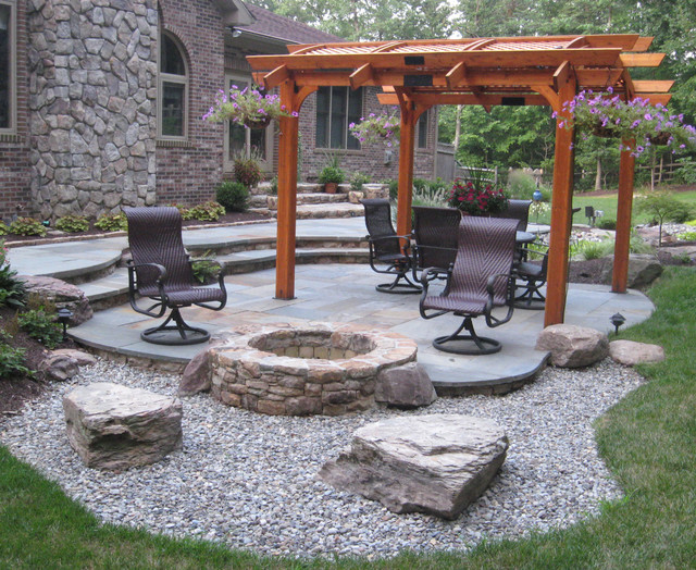 corner fire pit gravel firepit cool fire pits traditional patio ideas