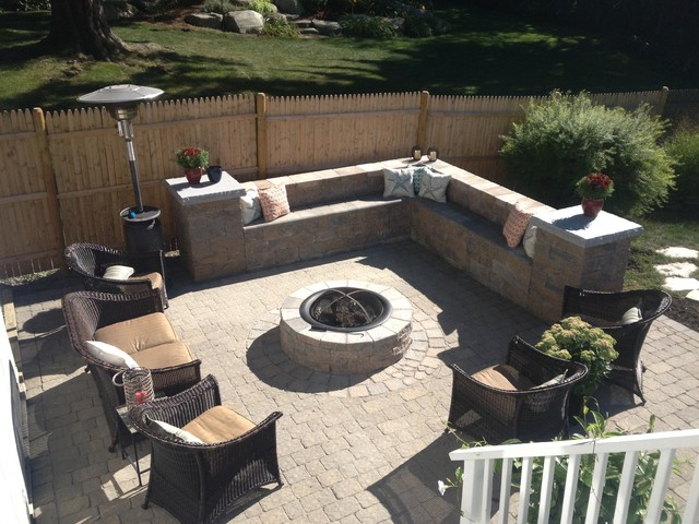 Fire Pit Sitting Area Newbury Ma Contemporary Patio