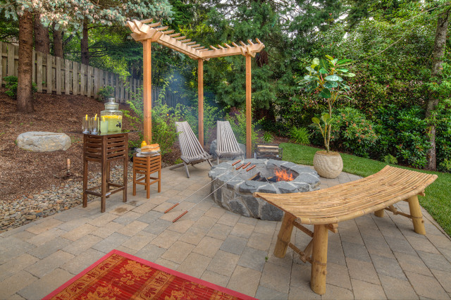 Fire pit, sport court, oversized paver patio traditional-patio