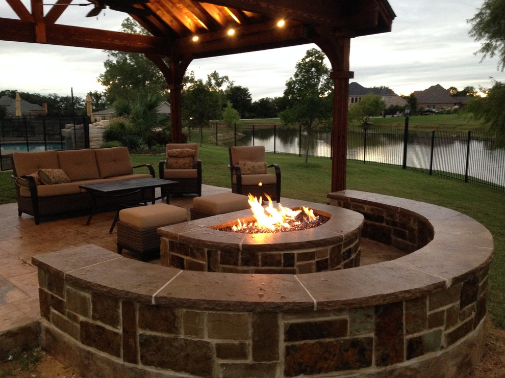 Fire Pit w/Stone Seating Surround - Craftsman - Patio ... on Urban Living Outdoor id=38591