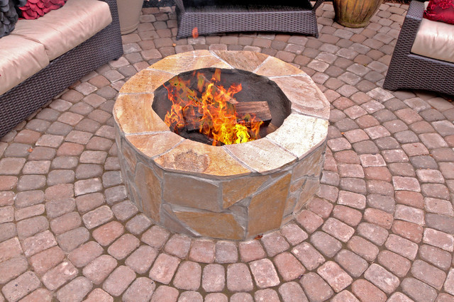 fire pit water feature pergola paver courtyard traditional patio portland by. Black Bedroom Furniture Sets. Home Design Ideas