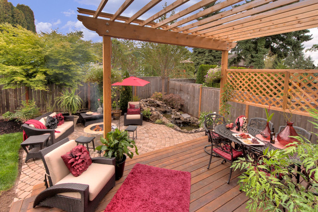 Fire pit - Water feature - Pergola - Paver courtyard traditional-patio