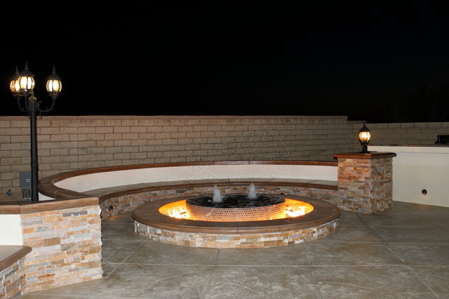 Fire pit water fountain contemporary patio los for Fire pit water feature combo