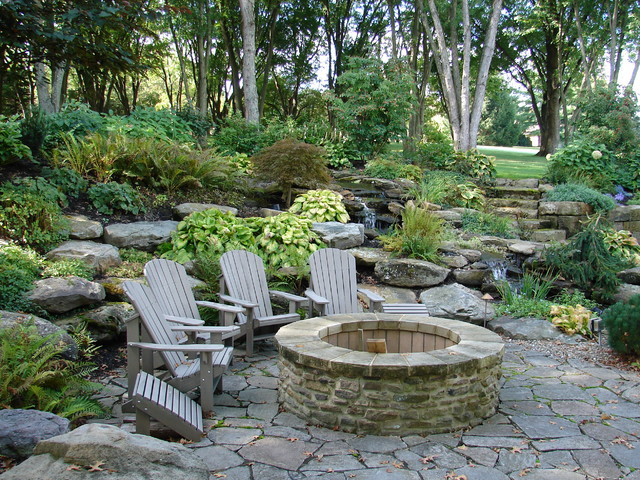 Fire Pit With Seating Area Rustic Patio Cleveland
