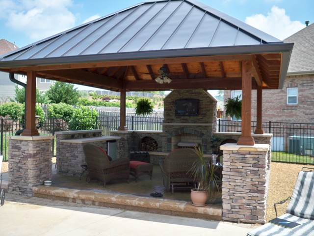 Fire pits and fireplaces traditional patio other for Outdoor gazebo plans with fireplace