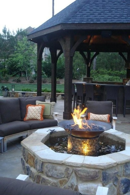 Elegant patio photo in Raleigh - Firepit And Gazebo