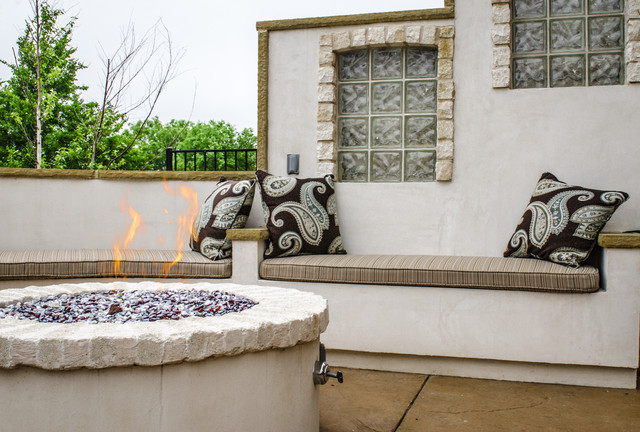 Firepit and outdoor shower mediterranean patio