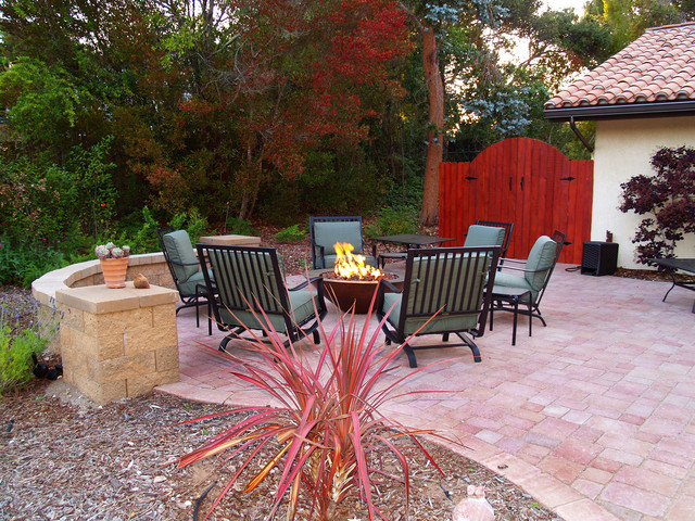 Firepit Red Pavers Patio Lompoc CA Contemporary