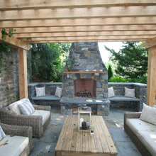 Fireplace, patio, pergola