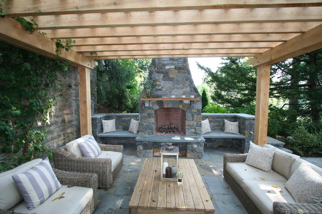 Fireplace Patio Pergola