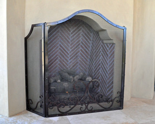 Fireplace screen traditional patio phoenix by grizzly iron inc - Houzz fireplace screens ...