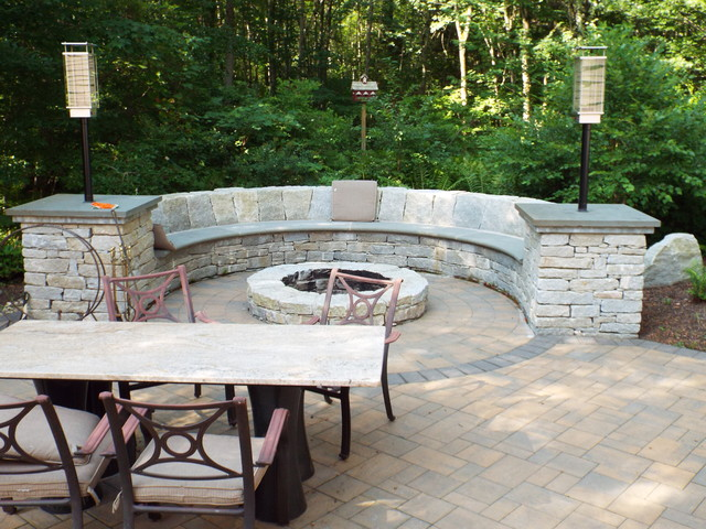 Fireplace Stone Bench Outdoor Kitchen Rustic Patio