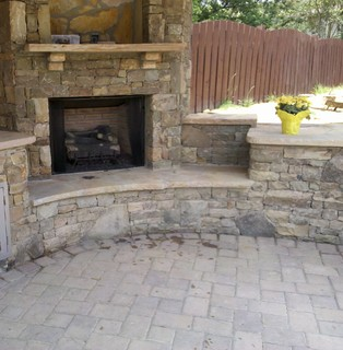 Fireplace With Kitchen Transitional Patio Atlanta