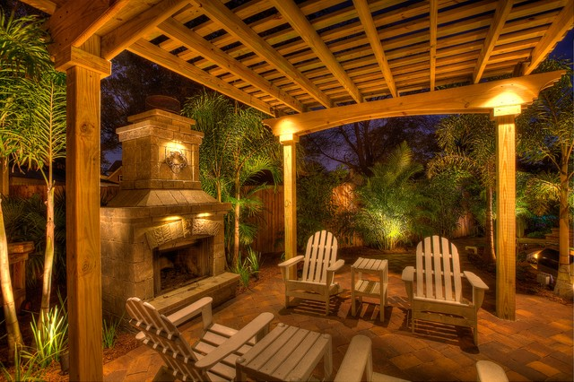 Fireplace With Pergola Tropical Patio Tampa By