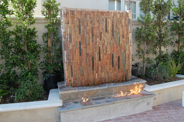 Contemporary Backyard Waterfalls : Fireplace with Waterfall  Contemporary  Patio  orange county  by