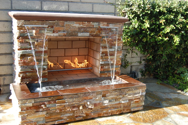 Fireplace With Waterfall Contemporary Patio