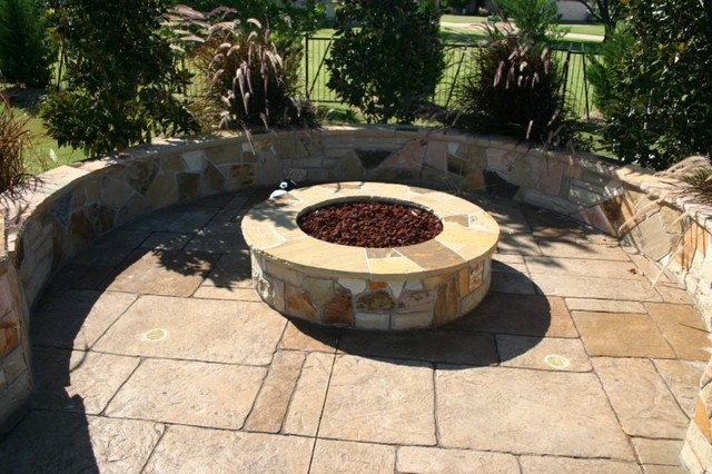 Fireplaces Fire Pits Brightly Colored Triangle Stonework Fire Pit Craftsman Patio