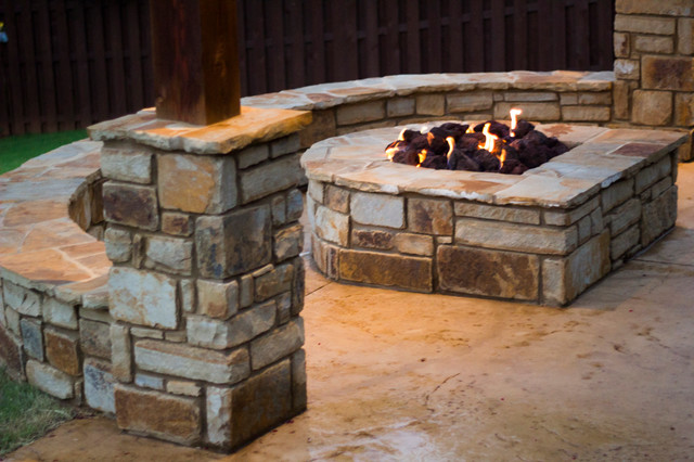 Fireplaces Fire Pits D Shaped Stone Fire Pit Craftsman Patio Oklahoma City By Red