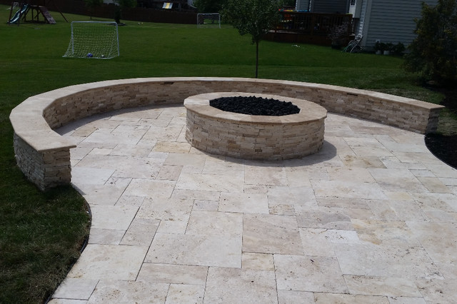 Fishers Patio Fire Pit Seat Wall Mediterranean Patio