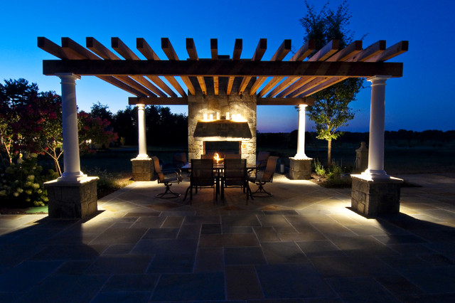 Flagstone dining patio under cedar pergola traditional patio