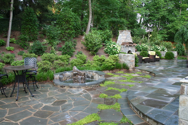 Captivating Flagstone Patio And Fieldstone Fireplace Contemporary Patio