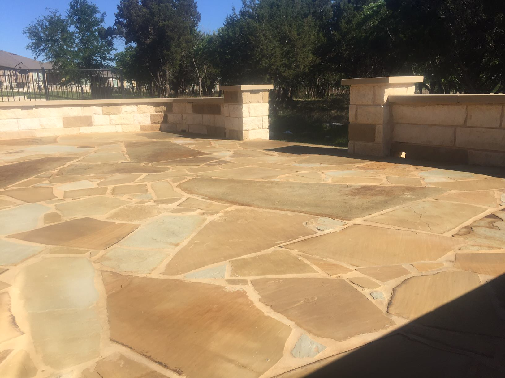 Flagstone patio & seatwalls